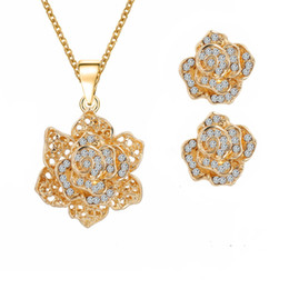 Wholesale Wholesale Sexy Necklace Earrings - Unique Design jewelry sets Fashion jewelry set 18k Golden Hollow Out Sexy Rose Necklace&Earrings Crystals Rhinestones Fashion jewelry sets