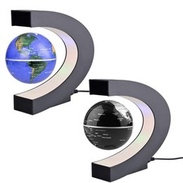 Wholesale Map Decorations - C shape Decoration Magnetic Levitation Floating Globe World Map LED Light Christmas Gift Xmas Decoration Santa Decor