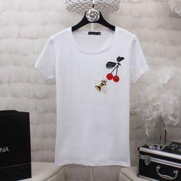 Wholesale Womens Lycra T Shirts - Cherry Bee Embroidery tshirt Womens Summer Tops 2017 Short Sleeve Fashion Ladies Cotton T shirt Woman Big Size White Black