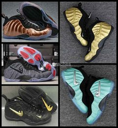 Wholesale Basket Ball Shoes Cheap - Free Shipping 2017 New Air Men penny hardaway Basketball Shoes Cheap Gold Pro in Fleece Mens Sports Sneakers Basket ball Trainers shoes 8-13