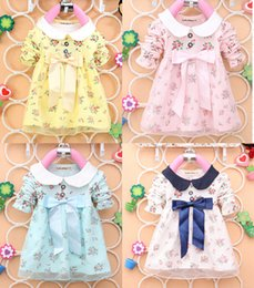 Wholesale Big Bow Mini Dress - Wholesale- 2016 New Children Girls baby Dress girls mini big Bow dress Kids girls long sleeve floral dress shirt for 0-2years