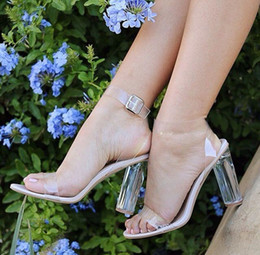 Wholesale Transparent Wedding Shoes - LTTL Brand Shoes New Design Women Clear Sandals Crystal High Heel Buckle Strap Women Party Shoes 11cm Transparent Women Wedding Sandals