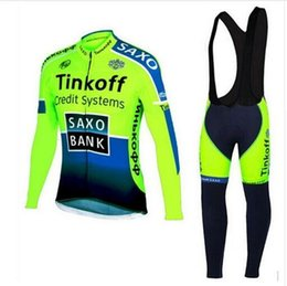 Wholesale fleece bibs - Tinkoff saxo bank fleece Fluo Cycling Jerseys Breathable Bike Clothing Quick-Dry Bicycle Sportwear Ropa Ciclismo GEL Pad Bike Bib Pants