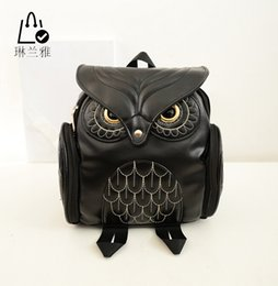 Wholesale Owls Style Bags - Wholesale- LINLANYA Hot Fashion Women Owl Backpack 2016 Newest Stylish Cool Black PU Leather Backpack Female Women shoulder bag school bag