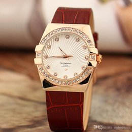 Wholesale Elegant Leather Watch - Free Shipping New Women Watch Luxury Top brand watches Rhinestone Dial Genuine Leather Strap Quartz Elegant Wristwatch for ladies girl 2017