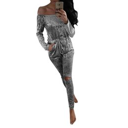 Wholesale Girls Ladies Jumpsuit - Wholesale- England Style Womens Off Shoulder Sexy Rompers Lady NightOut Playsuit Shiny Velvet Jumpsuit Girl Evening Party Rompers New Nov25