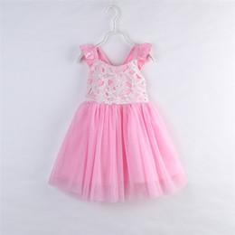 Wholesale Summer Cotton Lace Dresses Gauze - INS Girls Lace Gauze Dress 2017 New summer Kids baby sleeveless PINK TUTU dress Beach dress for Children birthday