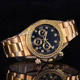 Wholesale Luxury Gold Diamond Watches Men - 2017 Diamond gold watch brand fashion stainless steel quartz movement ms man watch watch free shipping