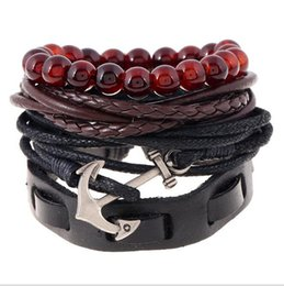 Wholesale Bracelet 4pcs - New! 4pcs 1 Set Punk Genuine Wrap Leather Bracelets Men For Women Charm Anchor Bracelets Cuff Jewelry Accessories