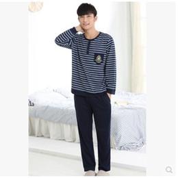Wholesale Mens Cotton Pyjamas - Pajamas Men Spring And Autumn Mens Pyjamas Cotton Stripe Pajamas Long-sleeve Sleepwear Casual Men Pajama Set Plus Size 4XL