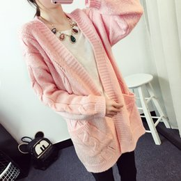 Wholesale Christmas Pink Cardigan - Wholesale-2016 Fashion Winter Sweater Women Thick Cable Knit Long Cardigan Women Poncho Coat Pink Sweater Women Cape Christmas Sweater