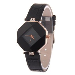 Wholesale Table Shape Cutting - high-quality new 5color jewelry watch fashion gift table women Watches Jewel gem cut black surface geometry wrist watches