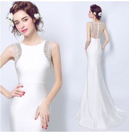 Wholesale Wedding Gown Dinner Dresses - New Arrival Hot Sale Fashion Luxury Princess Satin Royal Prospective Diamond White Fishtail Sweet Girl Dinner Gown Bridal Wedding Dress