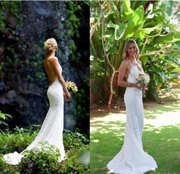 Wholesale Simple Slimming Wedding Dresses - New Sexy Mermaid Backless Wedding Dresses 2017 Lace Open Back V-Neck Off the Shoulder Slim Simple Beach Bridal Gown vestido de noiva