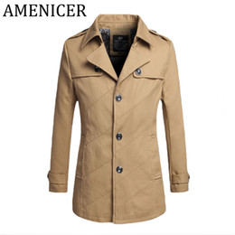 Wholesale Long Sections Trench Coats - Wholesale- Man Fashion Solid Color Long Trench Coat Jacket Button Style Overcoat Men Slim Patchwork Short Section Coat Male For Raincoat