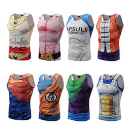 Wholesale Mens Vest Tank Tops - Dragon Ball Z Mens Summer Tank Tops Super Saiyan Goku Majin Buu Vegeta Piccolo Master Roshi Bodybuilding Vest Fitness Jersey