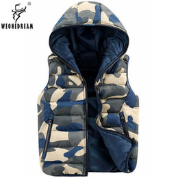 Wholesale Men Sleeveless Leather Jacket - Wholesale- Hooded Vest men suit Cotton Jackets Vest Male sleeveless Collar Print Zipper Waistcoat leather Winter warmer Outcoat for Man
