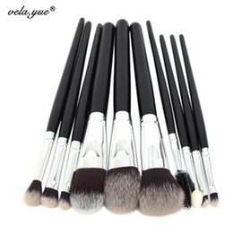 Wholesale hair functions - 10pcs Professional Makeup Brushes Set High Quality Makeup Tools Kit Premium Full Function Synthetic Hair Wood Handle Brush
