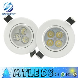Wholesale dimmable ceiling light - X50PCS White body led Dimmable 9W 12W Led DownLights High Power Led Downlights Recessed Ceiling Lights CRI>85 AC 110-240V With Power Supply