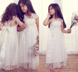 Wholesale Kids Party Gowns Designs - 2017 Vintage Long Ivory Flower Girl Dresses for Weddings Unique Design Tulle V-neck Cap Sleeves Tea Length Kids Party Girls Pageant Gowns