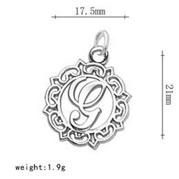 Wholesale G Made - Metal English Message K With Jump Ring & Letter G Round Lace In Circle Zinc Alloy Letter Charms for DIY Jewelry Making 100Pcs lot