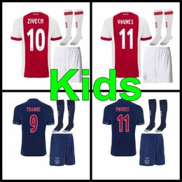 Wholesale Ajax Shorts Football - Thai quality 2017 Ajax FC home away kids kit soccer jersey 17 18 home away KLAASSEN FISCHEA BAZOER MILIK AJAX kids football shirt
