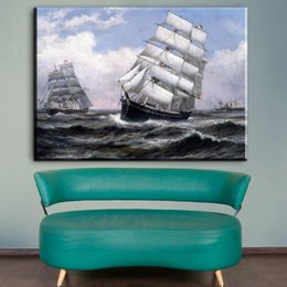 Wholesale Famous Animal Pictures - ZZ1352 famous canvas oil painting prints art sailboat seascape canvas pictures oil art painting for livingroom bedroom decor art