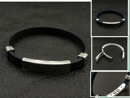 Wholesale Silicone Bracelet Id - Free Shipping Health Magnetic energy black silicone stainless steel bracelet magnet benefit high polished drop shipping