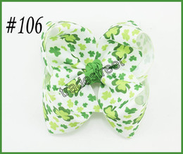 Wholesale Festival Top - free shipping 2017 newest 30pcs St patricks day hair bows Top festival Hairbows St patrick's day hair clips shamrock ribbon bows