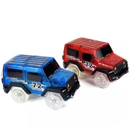 Wholesale Toy Flashing Blue Light - Glow in the Dark Magic Car LED Light Up Electronics Car Toys Jeep Model Electric Race Cars DIY Toy Car For Kid LA556