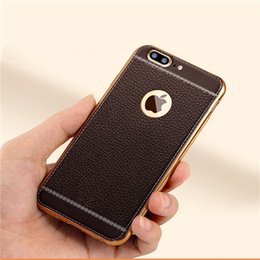 Wholesale Litchi Phone Case - Litchi grain luxury Plating Soft Leather TPU silicone phone case For iphone 5SE 6s plus Frame clear cover For iphone 7 Samsung S6 S7 Edge