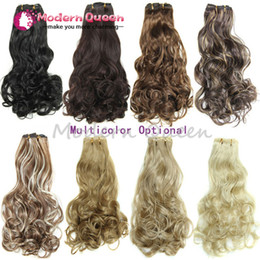 Wholesale Hair Extensions Heat Resistant - Free Shipping Hairpiece 20inch 160g 16 Clips 7pcs set Synthetic Hair Extension Long Wavy Hair Clip In Hair Extensions Heat Resistant