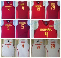 Wholesale Rio L - 2017 RIO Spain Team Jersey 5 Fernandez 4 Pau Gasol Spain Shirts Uniform 79 Ricky Rubio Fashion Rev 30 New Material Home Color Red White