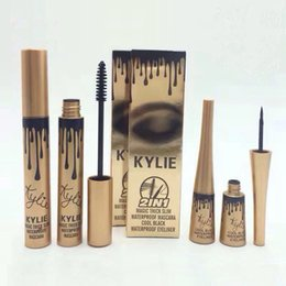 Wholesale Eyeliner Tubes - New Kylie Mascara + eyeliner 2in1 Set Gold edition Metal aluminum tube Smooth Cool Black Waterproof Free Shipping