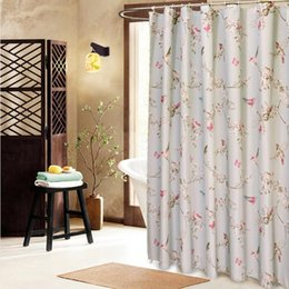 Wholesale Korean Cartoon Ring - Wholesale- 11sizes magpie Waterproof Fabric Bathroom Shower Curtain With Curtain Hooks Rings Free Shipping