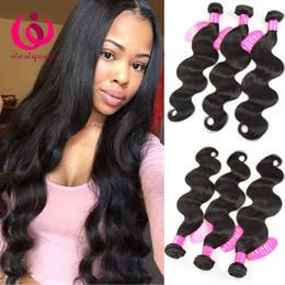 Wholesale Double Drawn Body Wave - Cheap Body Wave Hair Weaves Brazilian Indian Peruvian Mongolian Remy Human Hair Extensions 3 Bundles Double Drawn Weft Brazilian Virgin Hair