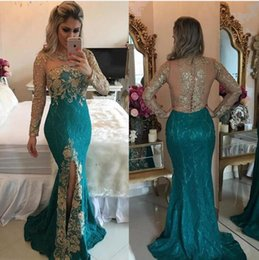 Wholesale Turquoise Prom Dress Long Backless - 2017 Turquoise Hunter Mermaid Long Sleeve Evening Dresses Sparkly Rhinestones Beaded Lace Appliques Split Prom Dresses Illusion Back