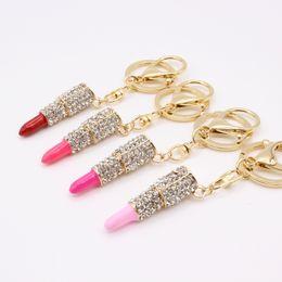 Wholesale Lipstick Charm Pendant - Charm crystal keychain lipstick shaped key holder Bag hanging key ring pendant European and American fashion multicolor ornament
