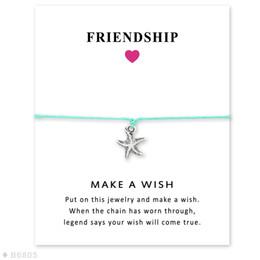 Wholesale Starfish Jewelry Sets - (10 pcs lot)Silver Tone Starfish Charm Bracelets & Bangles For Women Girls Adjustable Friendship Statement Jewelry With Card