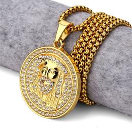 Wholesale Golden Jesus - 2017 New Golden Round Jesus Head Pendant Necklace Iced Out Medallion Style Christ Head Charm Pendants Rhinestone Hip Hop Jewelry