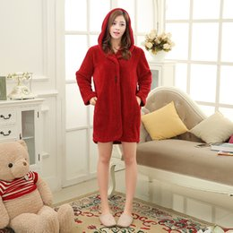 Wholesale Plush Horns - Wholesale- Hooded Plush Robe Tracksuit For Women Truien Horn Button Sexy Sleepwear Knitted Bathrobes Hoodies Sleep Tops Bridesmaid Robes