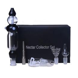 Wholesale Unit Boxes - Smoking Dogo New Version Nectar Collector Kit with Curved Glass Bowl Nail Titanium Nail Honey Straw Unit Glass Dish Quartz Nail