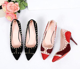 Wholesale Red Tip Toe Shoes - New home rivets high heels pointed tip with shallow mouth banding Baotou Liu Ding sandals