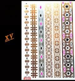 Wholesale Temporary Tattoos Gold Color - Wholesale- 2016 Gold jewelry design simple stickers tattoo flash metal color stripe tattoo large temporary tattoo sticker price