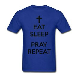 Wholesale Personalize T Shirts - Tee for Men Eat Sleep Pray Repeat Christian Pre-Cotton T Shirt for Mens Round Neck Personalized T Shirt
