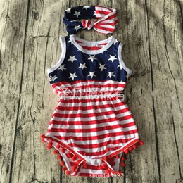 Wholesale Usa Headbands - Summer 4th of july independence day toddler girl rompers tassel baby fourth of July american flag usa jumpsuit infant clothing NC074