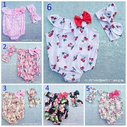 Wholesale Girls Print Jumpsuit - 7 Style 0-3T Baby Flower Rompers+Hair band Girl ins Cotton floral cherry print sleeveless romper with Bow Girls Ruffled Jumpsuit B001
