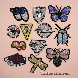 Wholesale Wholesale Iron Dragonflies - Crystal Patches Embroidery Patches Beef Dragonfly Butterfly Ladybug Shoes EYE Iron On Patches for Kids Clothes Bag, Customized MOQ 100pcs