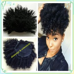 Wholesale Curled Clip Hair - brazilian Hair Tight Curl Clip In Extensions 10-16 inch Kinky Curly Afro Puff Ponytail Hairpiece 120g No Tangle no-remy hair