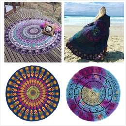 Wholesale Yoga Scarfs - Round Beach Towels Yoga Mat Mandala Tapestry Printed Hippy Beach Towel Scarf Boho Beach Shawl Wrap Bohemian Tablecloth Leisure Styles